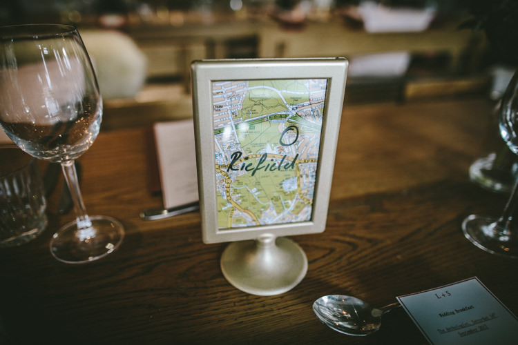 Table Names Places Eclectic Asylum Wedding London Rusted Rose Photography