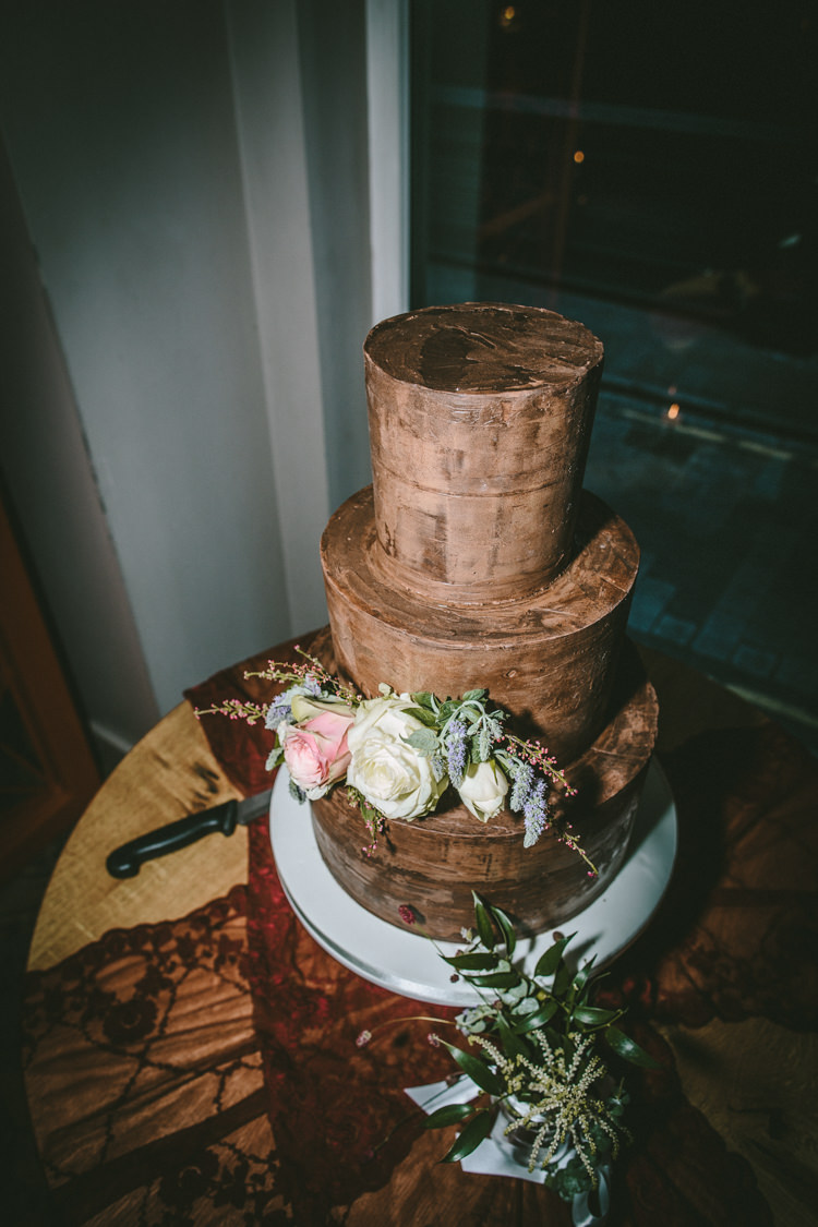 Chocolate Iced Cake Flowers Tiers Eclectic Asylum Wedding London Rusted Rose Photography