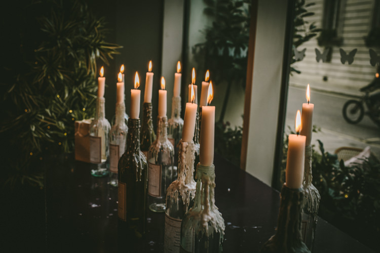 Candles Wine Bottles Eclectic Asylum Wedding London Rusted Rose Photography