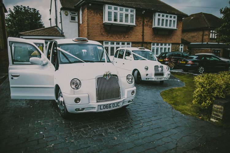 London Taxi Cabs White Eclectic Asylum Wedding London Rusted Rose Photography