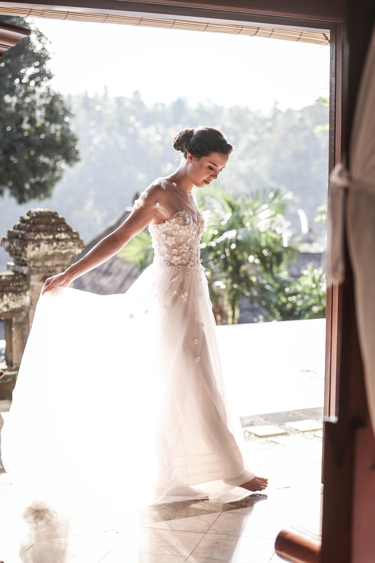 Outdoor Destination Luxury Adventure Ubud Bride Floral Dress | Whimsical Exotic Tropical Jungle Wedding Bali http://www.cecilephotographybali.com/