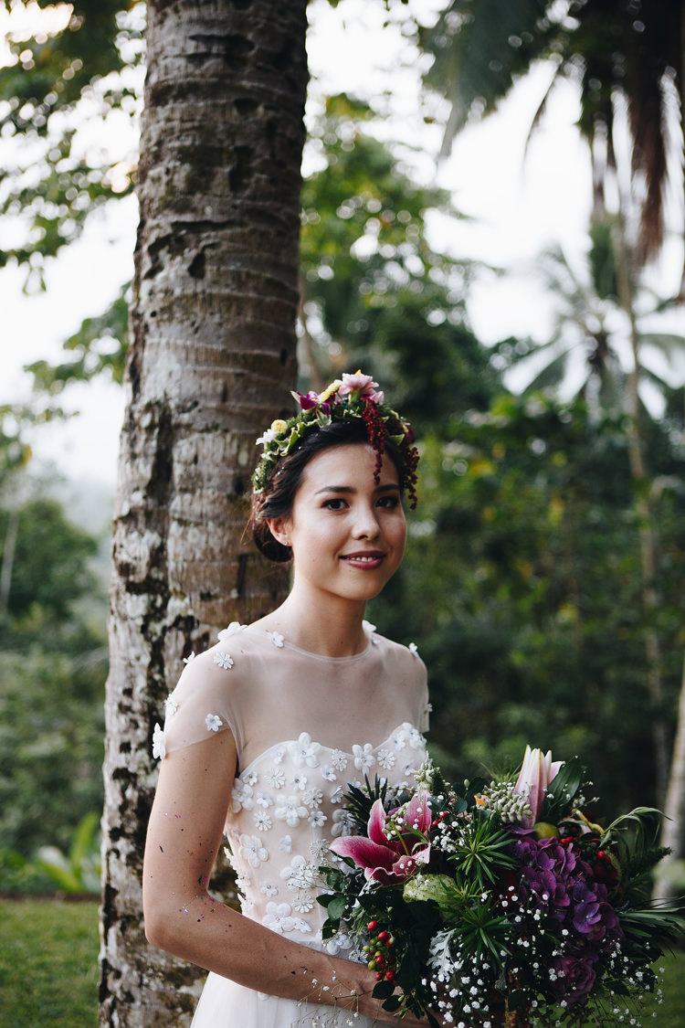 Outdoor Destination Luxury Adventure Ubud Ceremony Colorful Tropical Bouquet Flower Crown Bride Floral | Whimsical Exotic Tropical Jungle Wedding Bali http://www.cecilephotographybali.com/