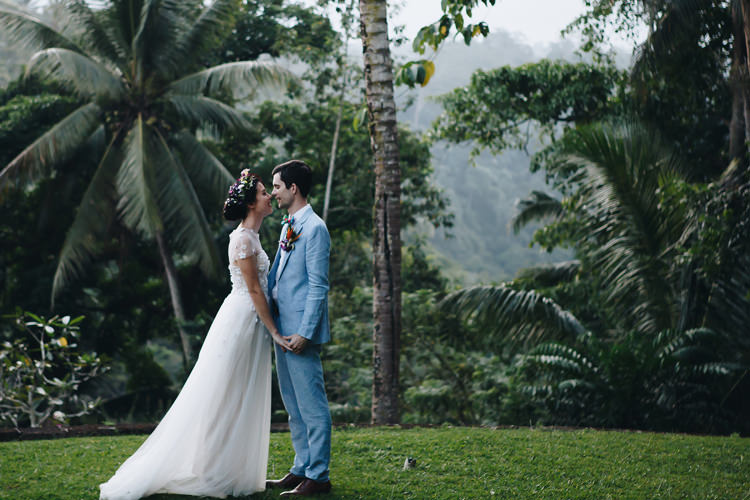 Outdoor Destination Luxury Adventure Ubud Ceremony Colorful Tropical Flower Crown Bride Groom | Whimsical Exotic Tropical Jungle Wedding Bali http://www.cecilephotographybali.com/