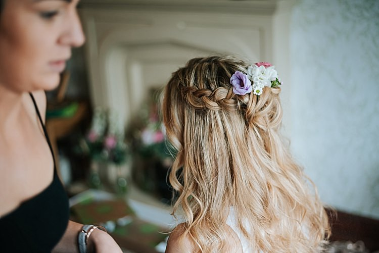 Bride Bridal Hair Flowers Plait Braid Floral Wedding Dress Tipi Alfred and Co Photography
