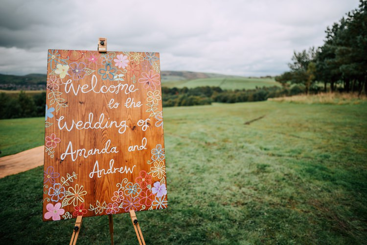 Wooden Welcome Sign Painted Illustrated Floral Wedding Dress Tipi Alfred and Co Photography
