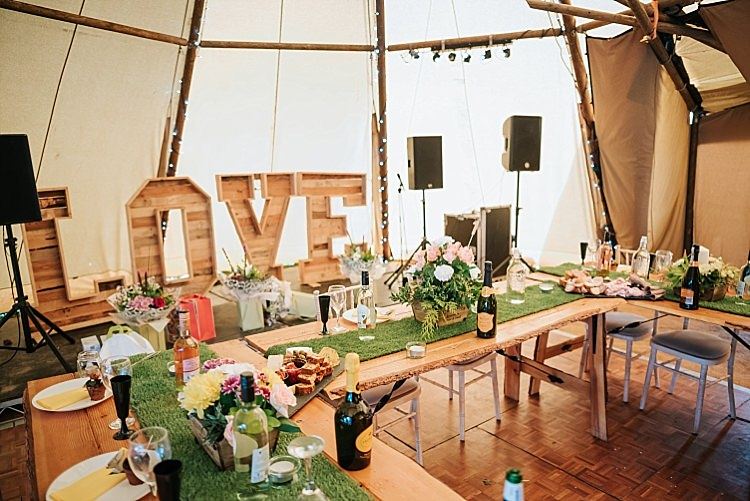Garden Decor Tables Floral Wedding Dress Tipi Alfred and Co Photography
