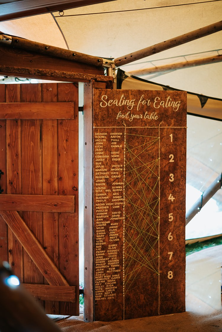 Wooden Seating Plan Table Chart String Peg Nail Match Up Floral Wedding Dress Tipi Alfred and Co Photography