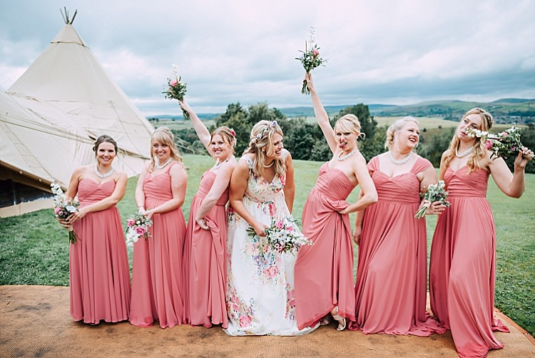 Long Pastel Pink Bridesmaid Dresses Maxi Floral Wedding Dress Tipi Alfred and Co Photography