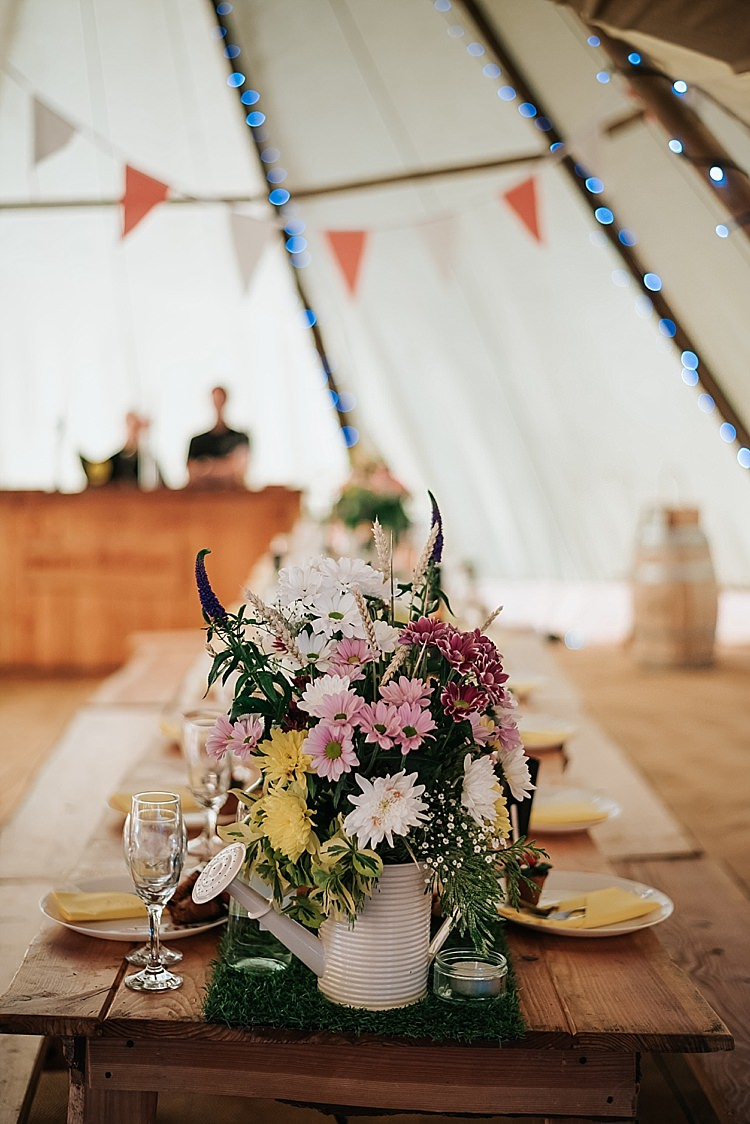 Tables Flowers Moss Grass Runner Watering Can Floral Wedding Dress Tipi Alfred and Co Photography