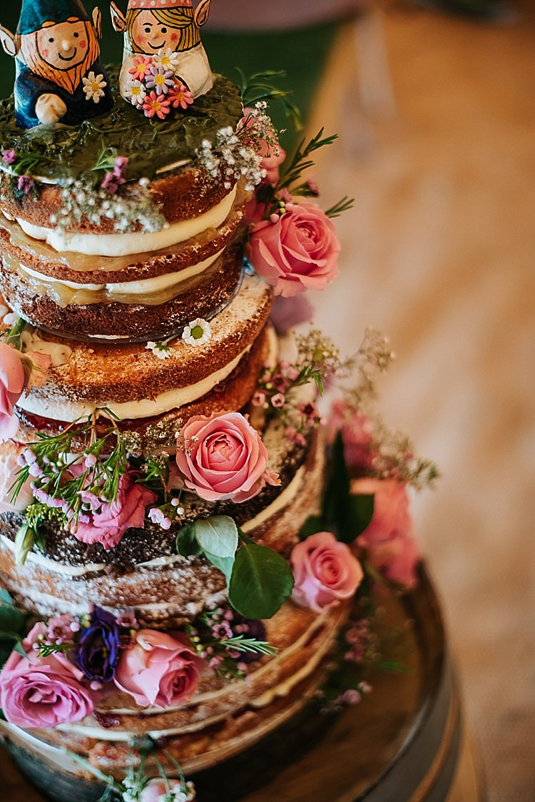 Naked Cake Sponge Flowers Tall Floral Wedding Dress Tipi Alfred and Co Photography