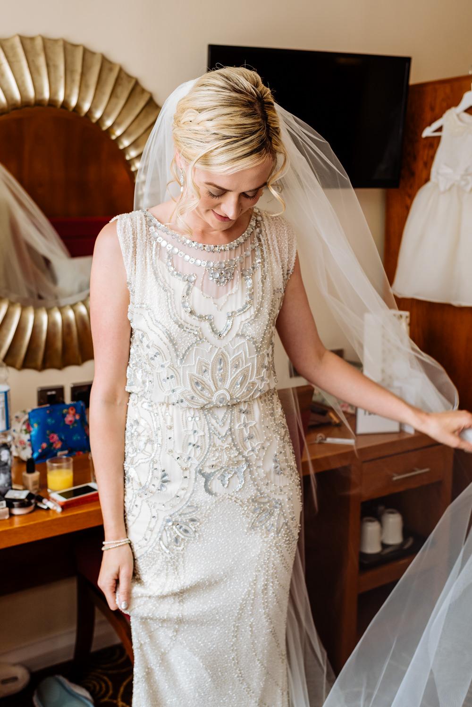 Bride Bridal Jenny Packham Beaded Dress Gown Shift Embellished Veil Laid Back Harry Potter Wedding Daffodil Waves Photography