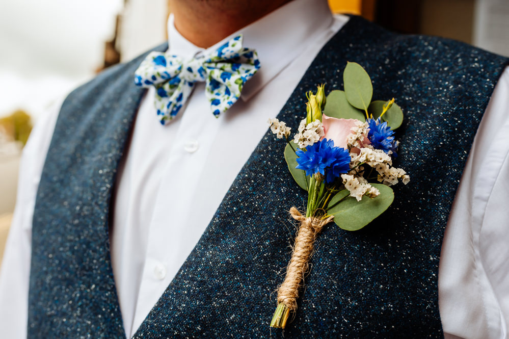 Waistcoat Groom Blue Tweed Hessian Buttonhole Liberty Print Bow Tie Laid Back Harry Potter Wedding Daffodil Waves Photography