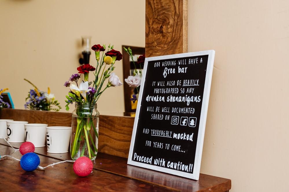 Wedding Free Bar Sign Chalk Board Laid Back Harry Potter Wedding Daffodil Waves Photography