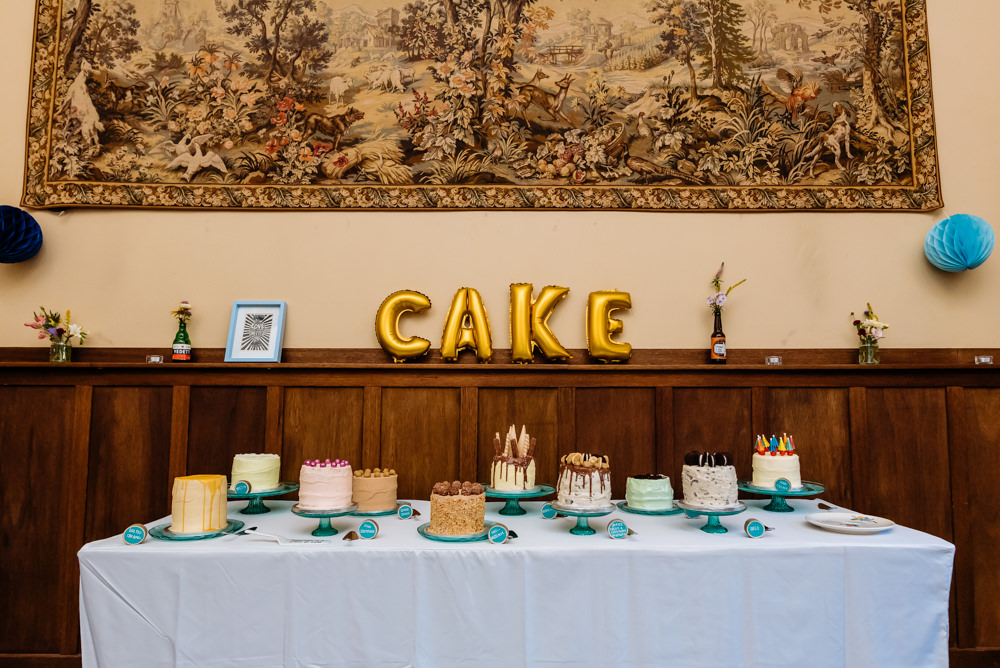 Cake Table Selection Stands Drip Buttercream Laid Back Harry Potter Wedding Daffodil Waves Photography