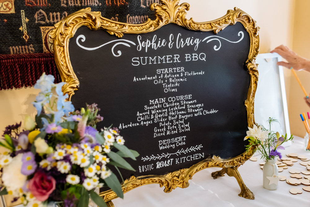 Menu Chalk Board Gold Frame Ornate Flowers Floral Laid Back Harry Potter Wedding Daffodil Waves Photography