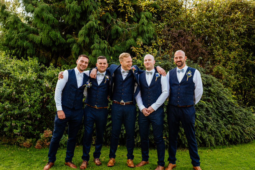 Groom Groomsmen Blue Tweed Next Bow Tie Liberty Print Waistcoat Three Piece Laid Back Harry Potter Wedding Daffodil Waves Photography