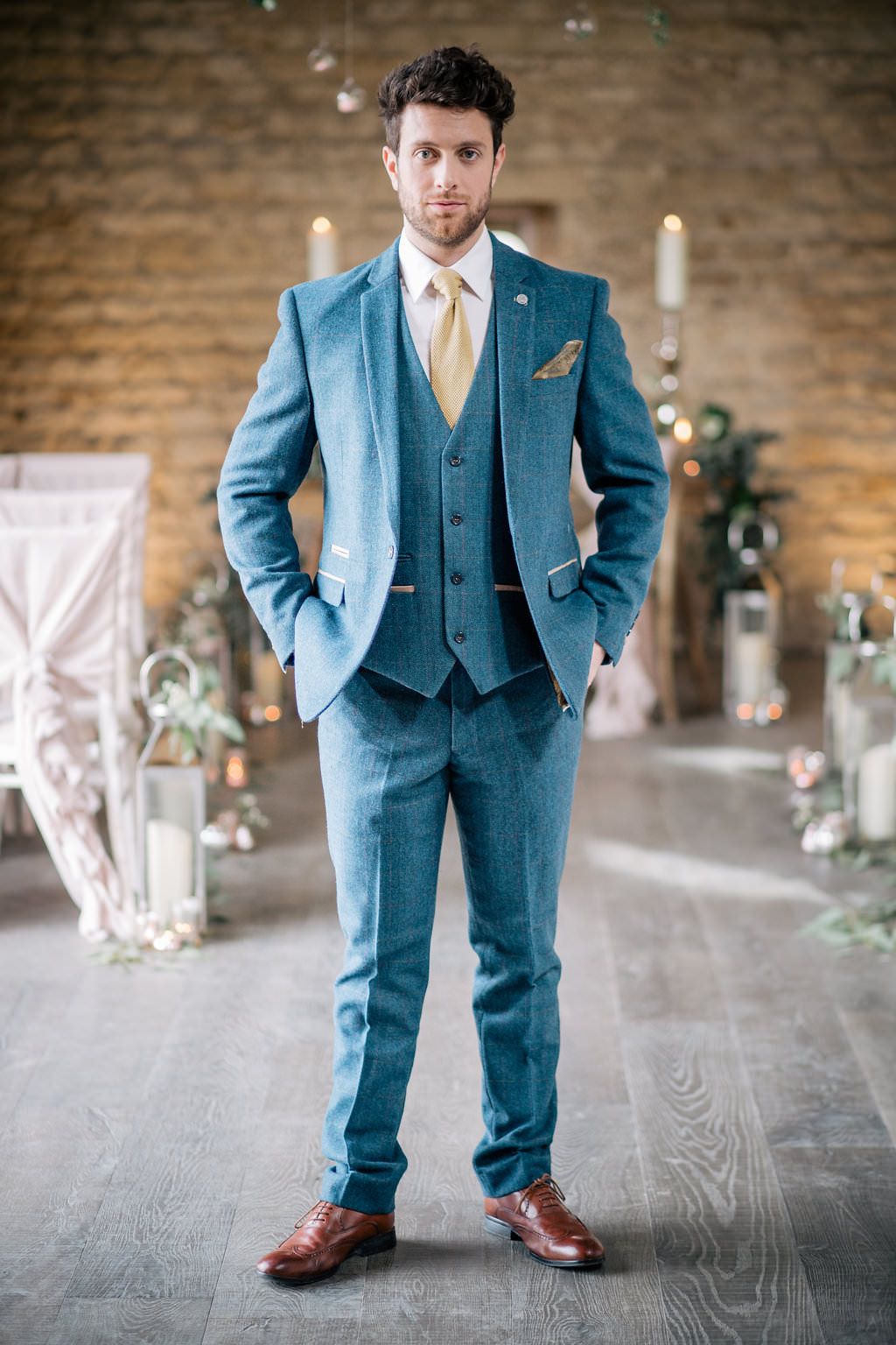 Groom Suit Blue Mustard Knitted Tie Badge Pin Lapstone Barn Wedding Ideas Cotswolds Katie Hamilton Photography