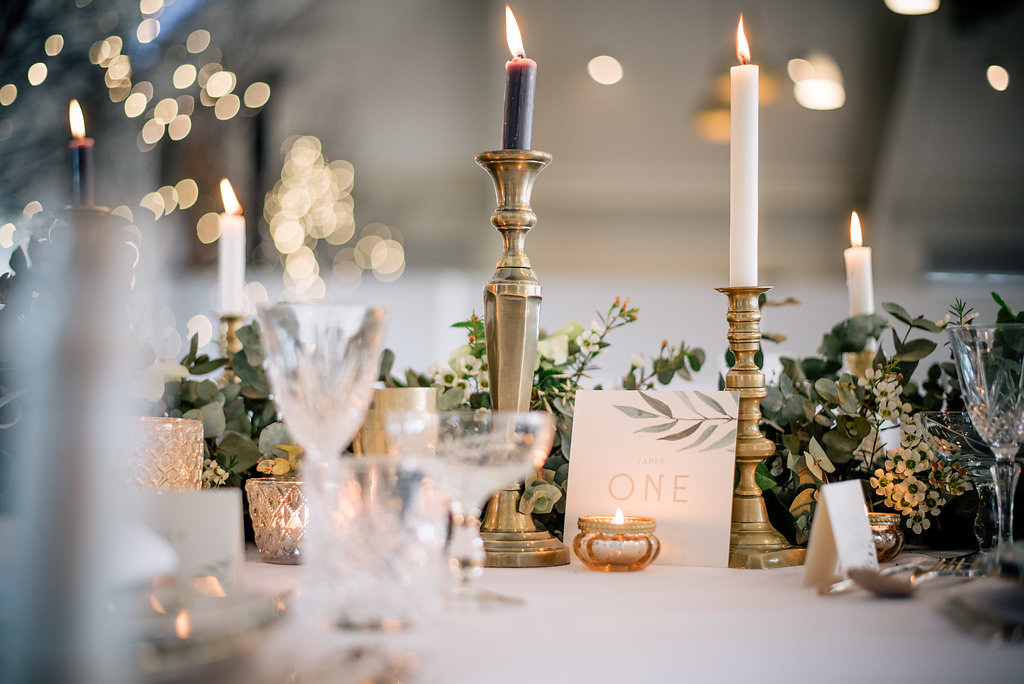 Table Tablescape Candles Greenery Runner Decor Lapstone Barn Wedding Ideas Cotswolds Katie Hamilton Photography