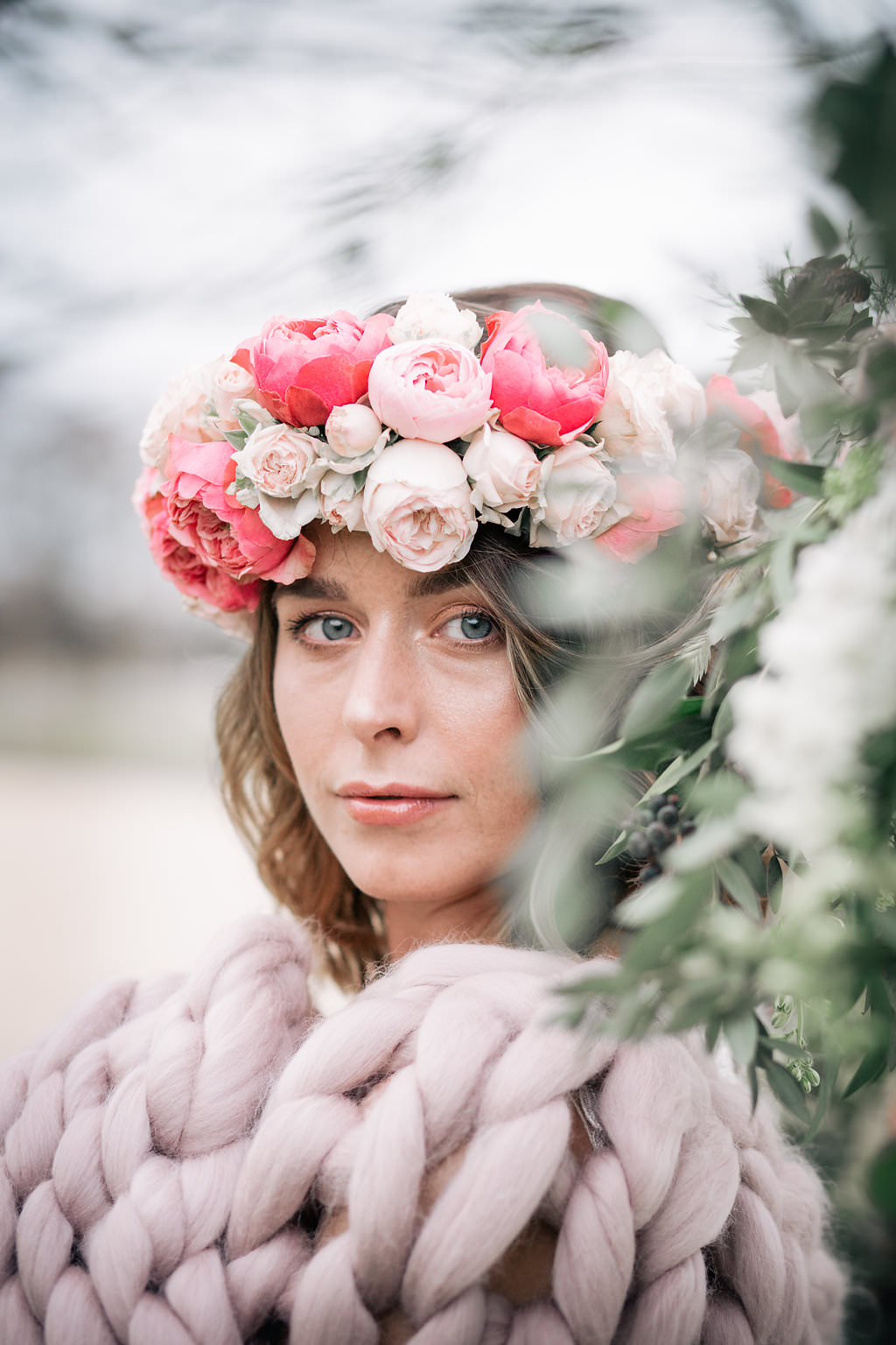 Flower Crown Bride Bridal Pink Rose Ranunculus Peony Lapstone Barn Wedding Ideas Cotswolds Katie Hamilton Photography