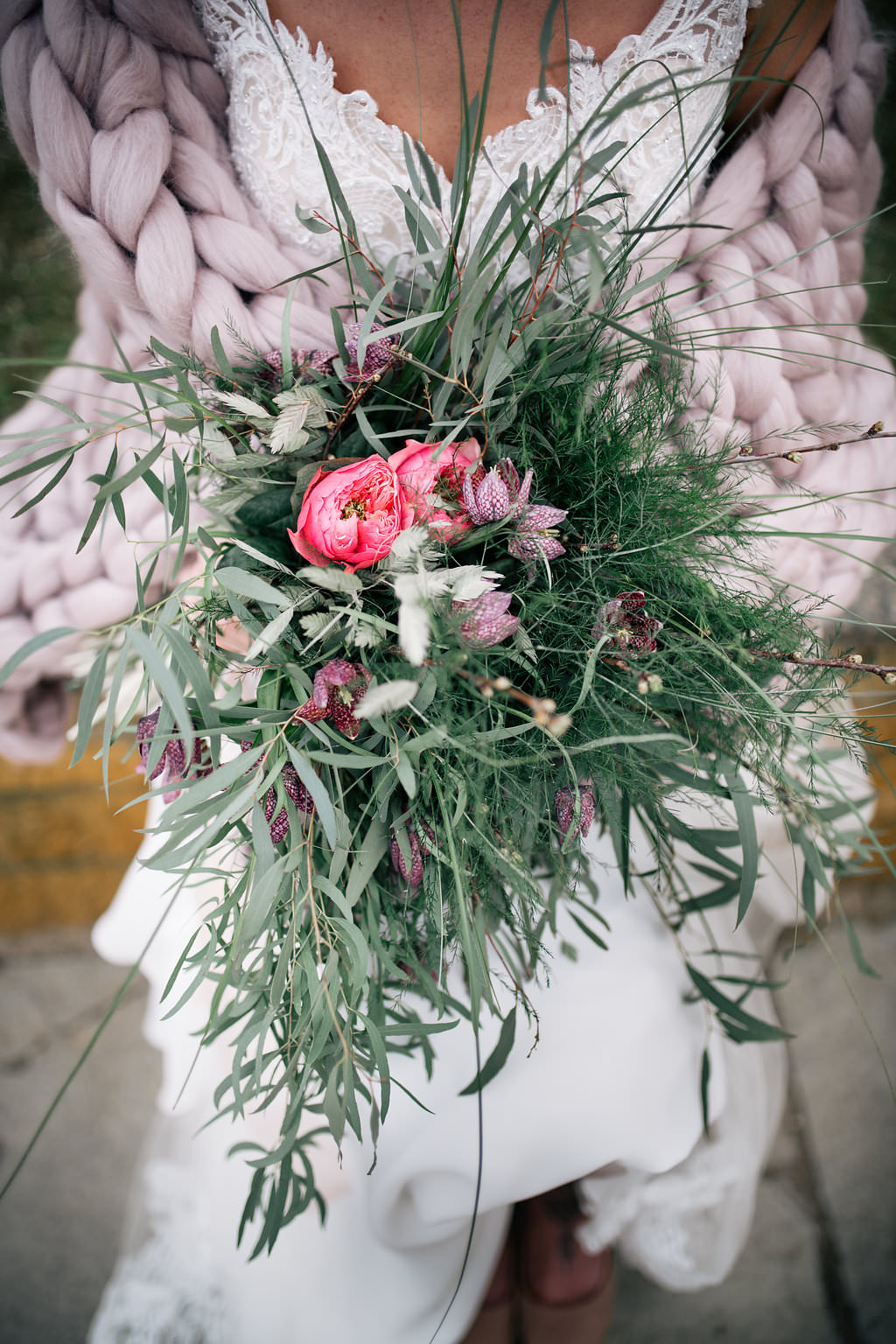 Bouquet Bride Bridal Flowers Greenery Foliage Hellebore Peony Lapstone Barn Wedding Ideas Cotswolds Katie Hamilton Photography
