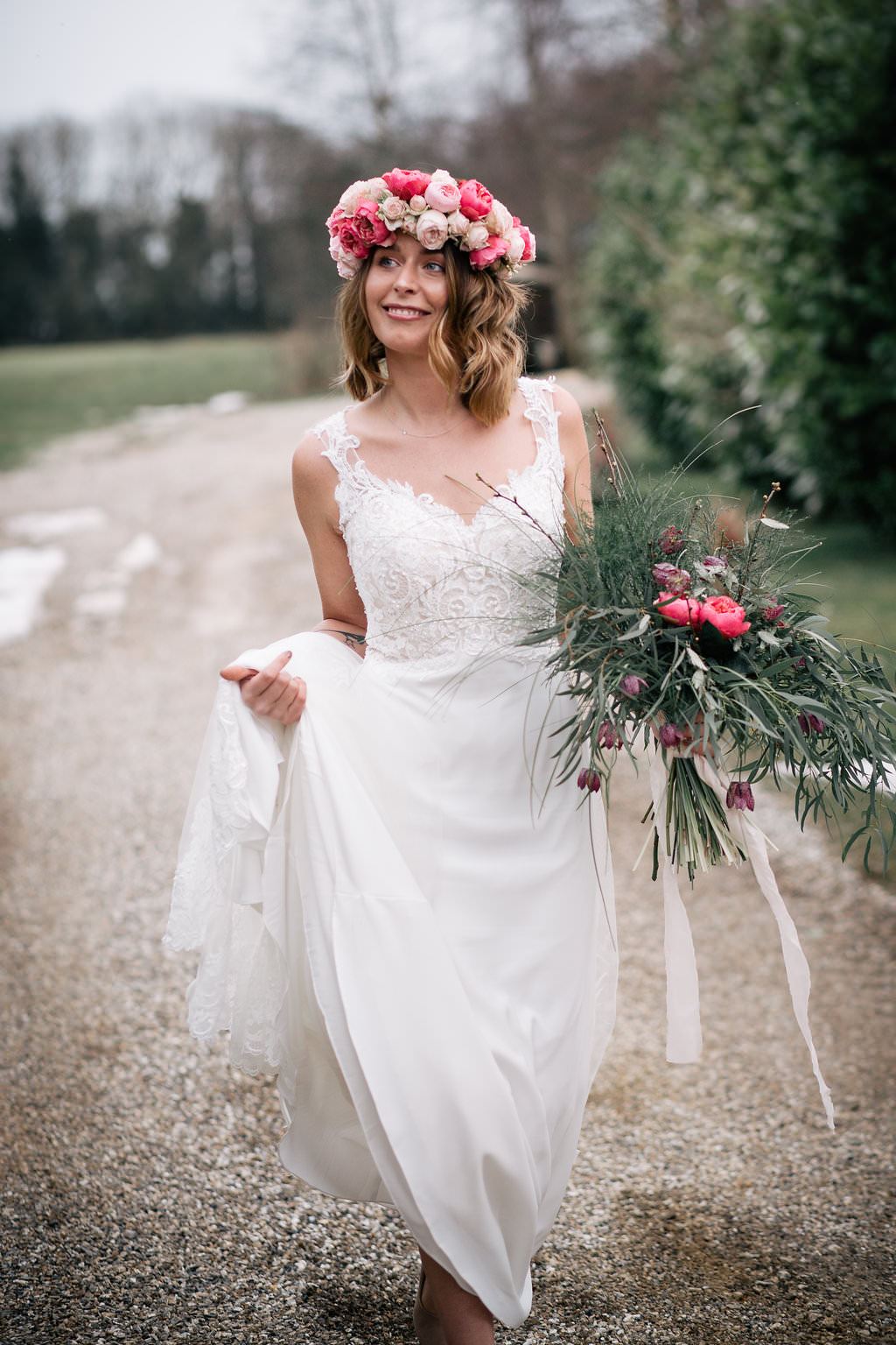 Dress Gown Bride Bridal Lace Straps Train Lapstone Barn Wedding Ideas Cotswolds Katie Hamilton Photography