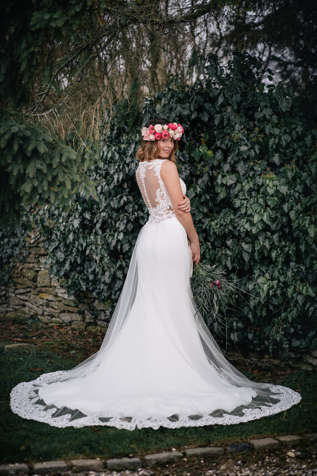 Illusion Lace Dress Gown Bride Bridal Train Lapstone Barn Wedding Ideas Cotswolds Katie Hamilton Photography