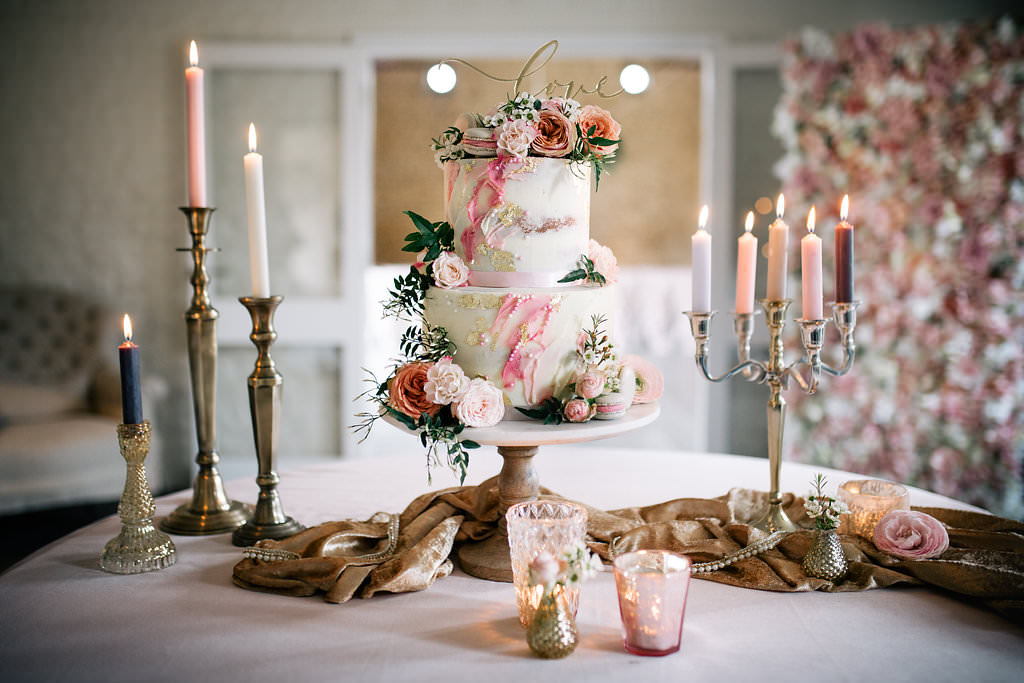 Cake Pink Artist Palette Painted Brush Work Gold Leaf Flowers Macarons Lapstone Barn Wedding Ideas Cotswolds Katie Hamilton Photography