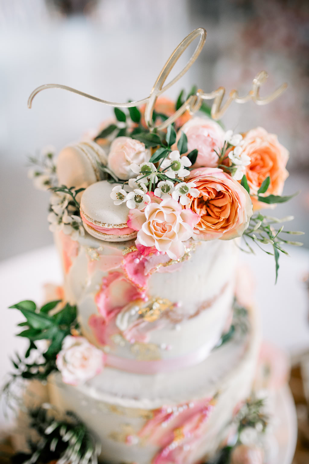 Cake Pink Artist Palette Painted Brush Work Gold Leaf Flowers Macarons Love Topper Lapstone Barn Wedding Ideas Cotswolds Katie Hamilton Photography