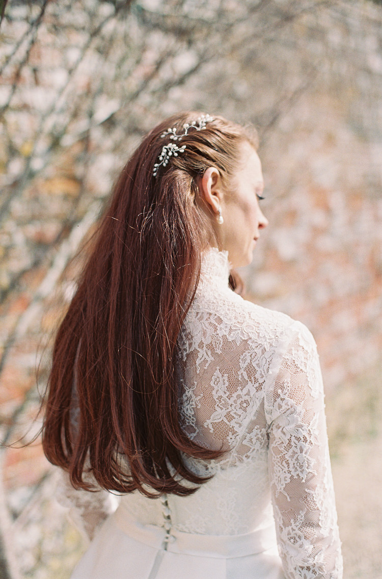 Hair Long Bride Bridal Brait Plait Flowers Whimsical Summer Chocolat Wedding Ideas Brympton House Liz Baker Fine Art Photography