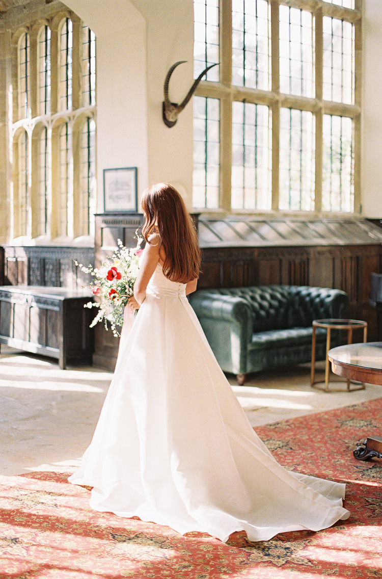 Sassi Holford Dress Gown Bride Bridal Lace Sleeves Train Whimsical Summer Chocolat Wedding Ideas Brympton House Liz Baker Fine Art Photography