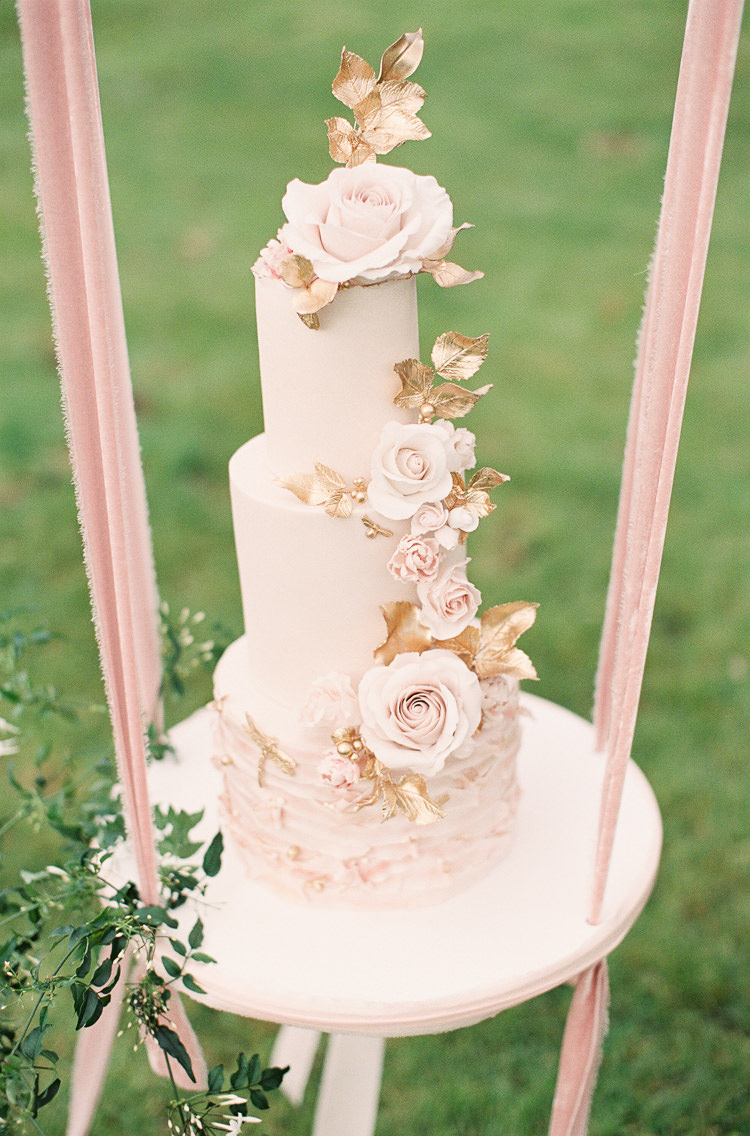 Dragonflies Bees Blush Pink Gold Flower Cake Ribbon Swing Table Stand Whimsical Summer Chocolat Wedding Ideas Brympton House Liz Baker Fine Art Photography