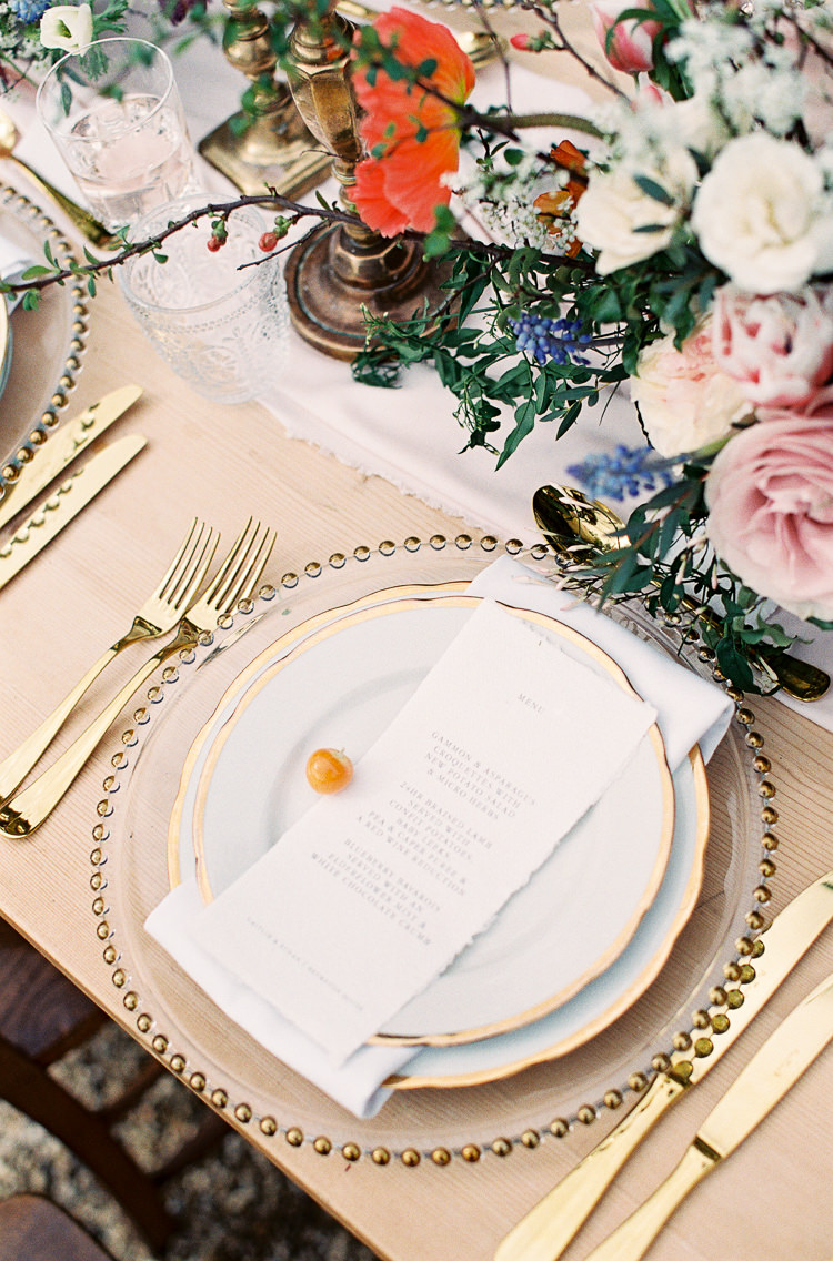 Tablescape Decor Silk Runner Candle Sticks Gold Cutlery Plates Whimsical Summer Chocolat Wedding Ideas Brympton House Liz Baker Fine Art Photography