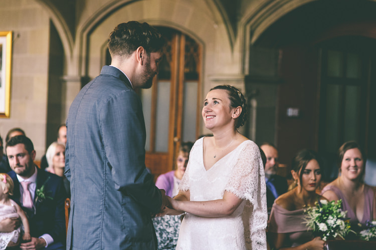 Lace Bat Wing Sleeve Bride Bridal Dress Gown Blue Suit Groom Manchester Town Hall Wedding City Emma Boileau Photography