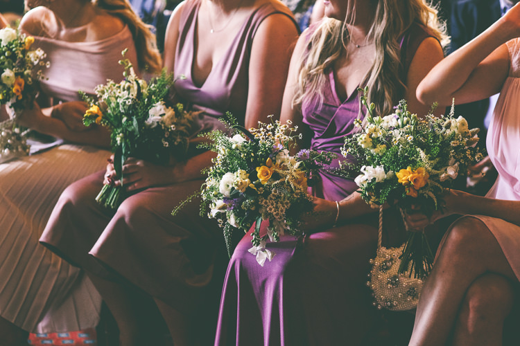 Bridesmaids Bouquet Wildflower Yellow Pink Dresses Jumpsuits Manchester Town Hall Wedding City Emma Boileau Photography