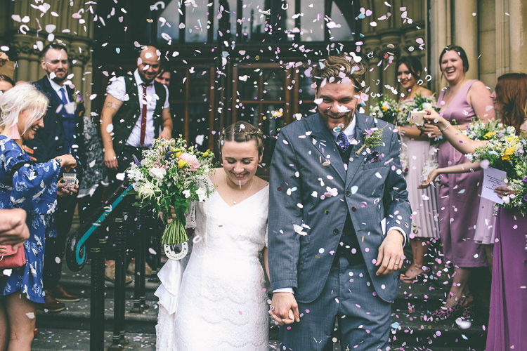 Lace Bat Wing Sleeve Bride Bridal Dress Gown Blue Suit Groom Wildflower Bouquet Confetti Manchester Town Hall Wedding City Emma Boileau Photography
