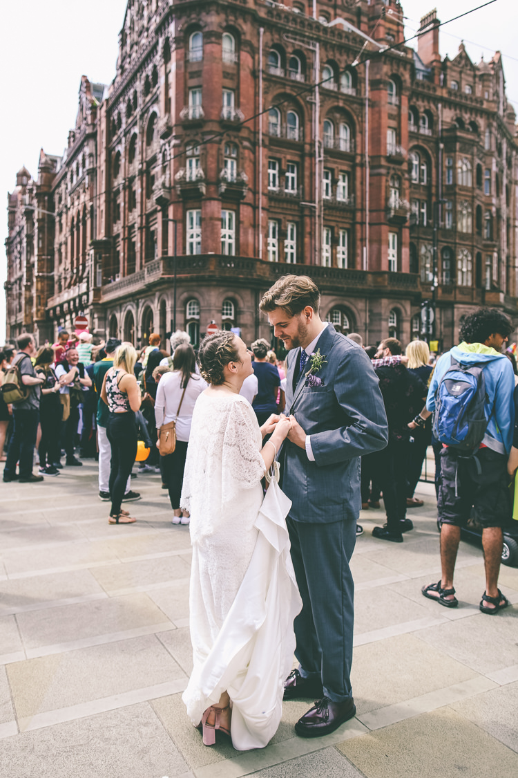 Lace Bat Wing Sleeve Bride Bridal Dress Gown Blue Suit Groom Braid Plait Up Do Manchester Town Hall Wedding City Emma Boileau Photography