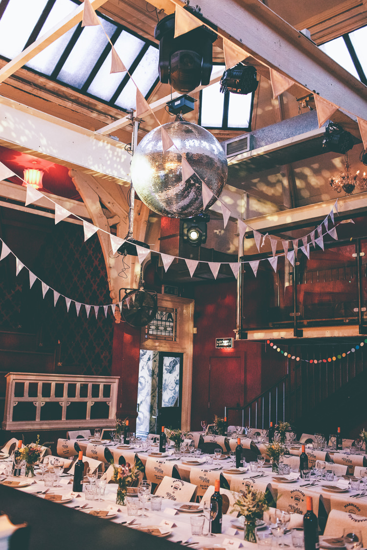 Reception Bespoke Bibs Bunting Disco Ball Manchester Town Hall Wedding City Emma Boileau Photography
