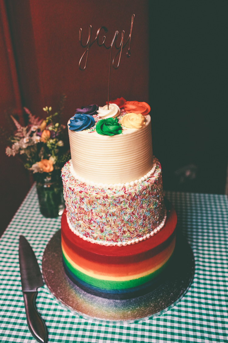 Rainbow Cake Hundreds and Thousands Yay! Metal Cake Topper Manchester Town Hall Wedding City Emma Boileau Photography