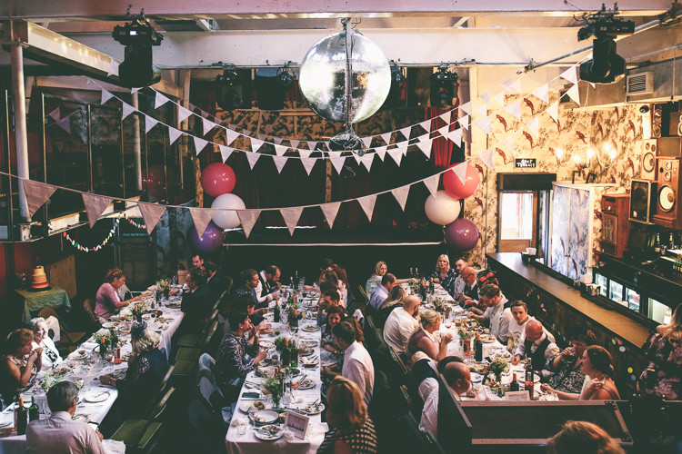 Reception Dining Giant Balloons Bunting Manchester Town Hall Wedding City Emma Boileau Photography