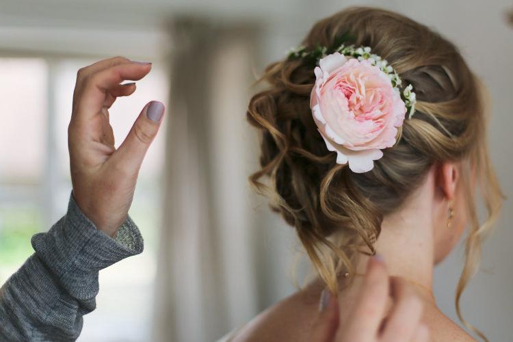 Hairstyle Up Do Peony Wax Flowers Manor Farm Wedding Hampshire Luke Doyle Photography
