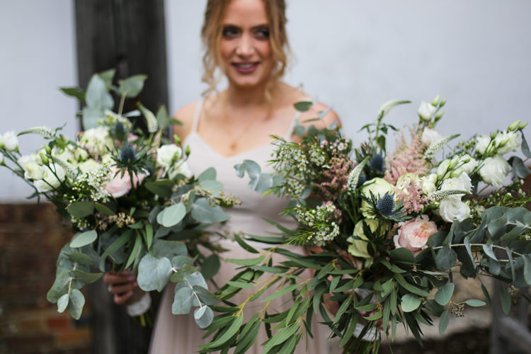 Bride Bridal Bouquet Eucalyptus Thistle Rose Loose Wild Manor Farm Wedding Hampshire Luke Doyle Photography