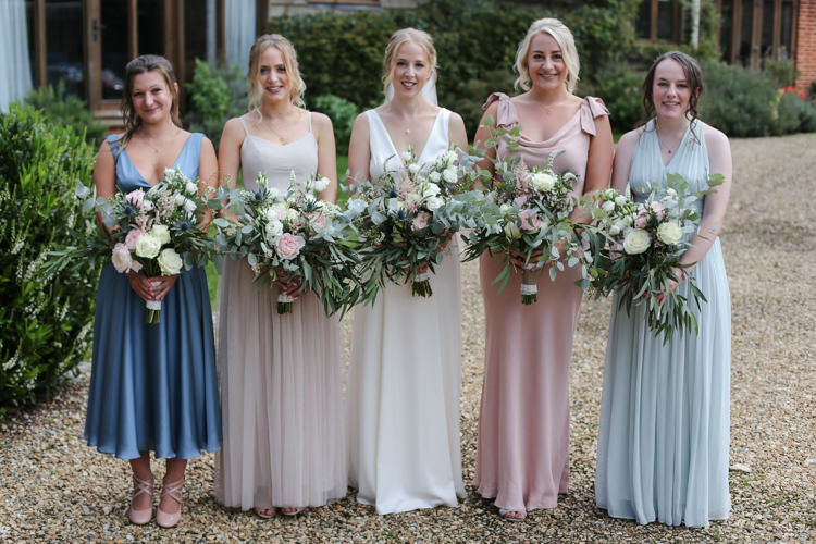 Bride Bridal V Neck Charlie Brear Dress Gown Bridesmaids Mismatched Pink Green Blue Loose Wild Bouquet Manor Farm Wedding Hampshire Luke Doyle Photography