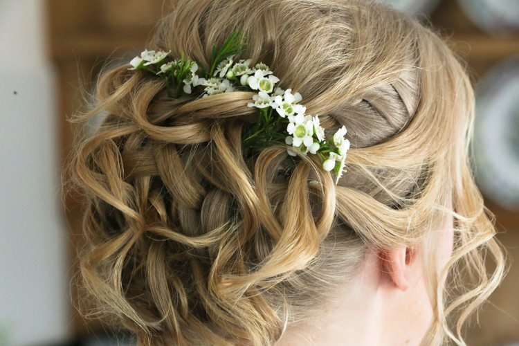 Hairstyle Up Do Wax Flowers Manor Farm Wedding Hampshire Luke Doyle Photography