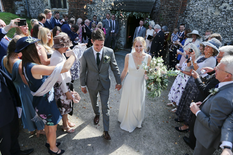 Bride Bridal V Neck Charlie Brear Dress Gown Ted Baker Groom Waistcoat Three Piece Grey Green Tie Loose Wild Bouquet Confetti Manor Farm Wedding Hampshire Luke Doyle Photography