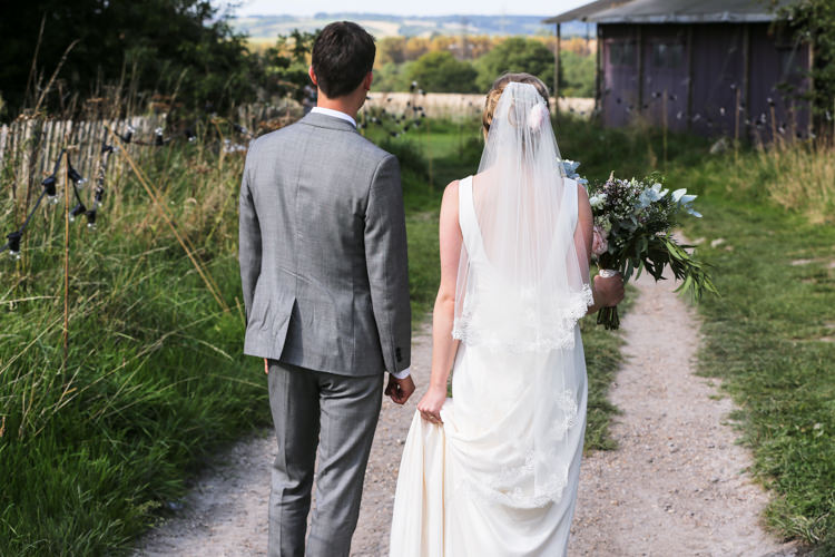 Bride Bridal V Neck Charlie Brear Dress Gown Ted Baker Groom Waistcoat Three Piece Grey Green Tie Loose Wild Bouquet Veil Lace Manor Farm Wedding Hampshire Luke Doyle Photography