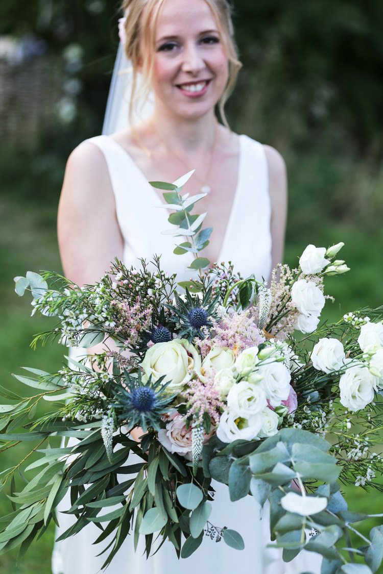 Bride Bridal V Neck Charlie Brear Dress Gown Loose Wild Bouquet Eucalyptus Thistle Rose Manor Farm Wedding Hampshire Luke Doyle Photography