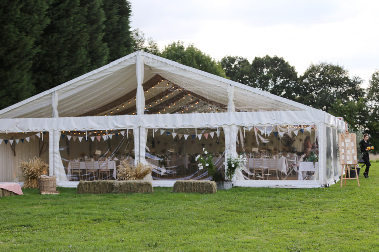 Marquee Bunting Fairy Lights Hay Bales Manor Farm Wedding Hampshire Luke Doyle Photography