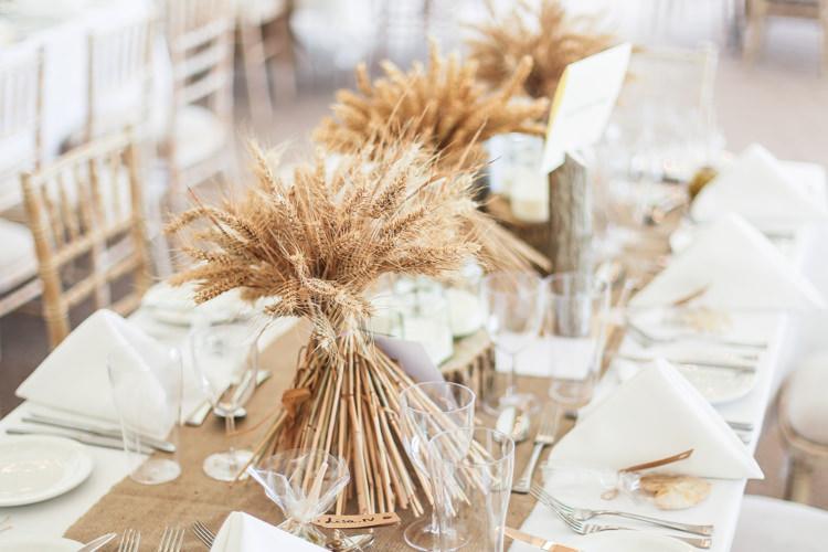 Table Hessian Runner Corn Ears Manor Farm Wedding Hampshire Luke Doyle Photography