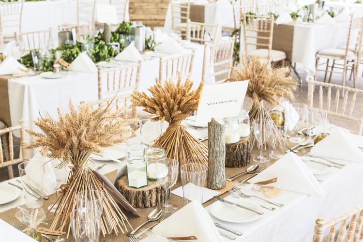 Tables Hessian Runner Corn Ears Wood Slice Centre Setting Manor Farm Wedding Hampshire Luke Doyle Photography