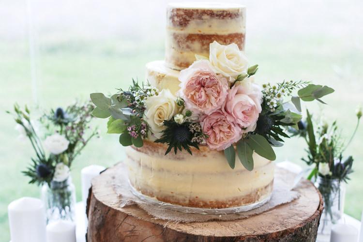 Semi Naked Cake Buttercream Floral Flowers Peony Eucalyptus Manor Farm Wedding Hampshire Luke Doyle Photography
